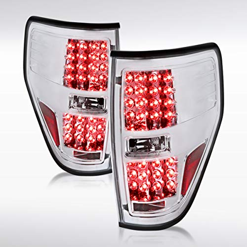 Autozensation For Ford F150 Pickup Euro Chrome Clear LED Rear Tail Brake Lights Pair