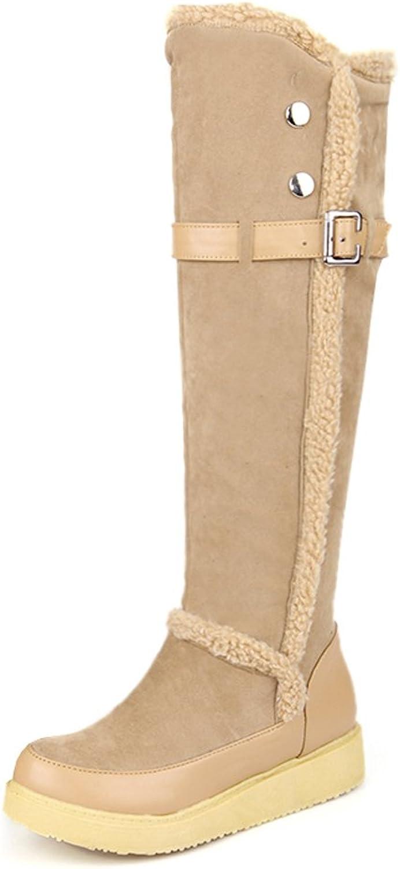 AIWEIYi Womens Elegant Fur Flat Winter Snow Boots Knee High Riding Boots Black