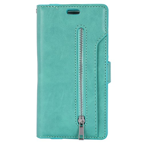 Qjuegad Kompatibel mit Samsung Galaxy S7 Edge hülle Multifunktionale Handtasche Retro Premium PU Leder Magnetverschluss Folio Brieftaschenhülle mit Handschlaufe/Kartenfächern/Ständerfunktion,Grün