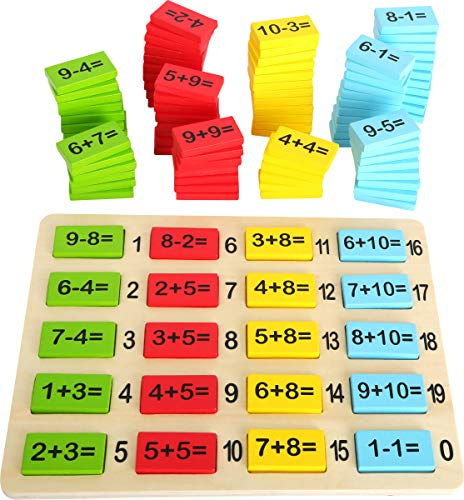 Small Foot Wooden Toys Playful Math Tiles for Kids Learning Addition and Subtracting Number Fun Early Educational Toy Designed for Children 3+