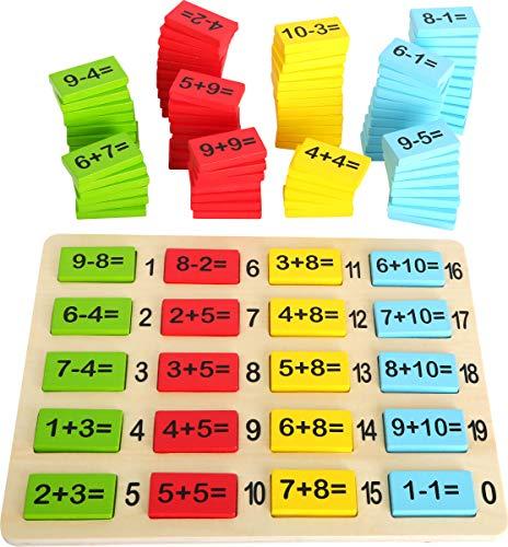 Small Foot 10716 Rechenplättchen aus Buntem Holz zum spielerischen Erlernen von Addition und Subtraktion, inkl. Legebrett mit gedruckten Lösungen