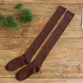 HAWEEL Girl Over Knee High Socks Spring Autumn Winter Warm Knit Soft Thigh High Long Socks Loose Socks, Size:One Size(Black) High Knee Sock