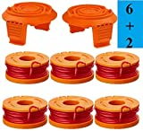 WA0010 Replacement Trimmer Line for Select Electric String Trimmers,Trimmer Spool Line for Worx,0.065 Edger Spool for Worx Trimmer Spools Weed Eater String,Weed Wacker Spool Parts 6Pcs