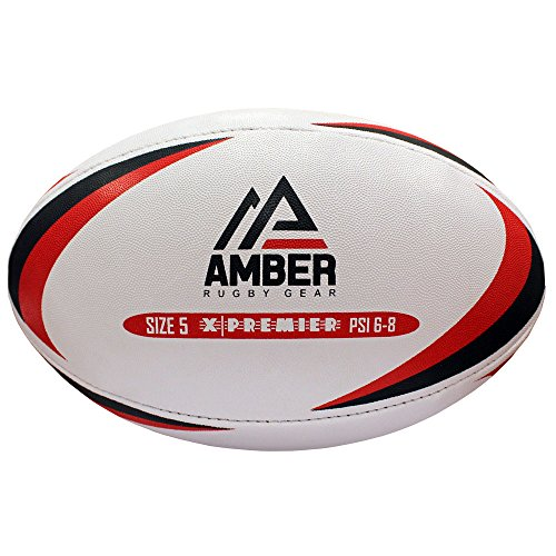 Amber Match Or Training Rugby Ball X-Premier Size 5, White
