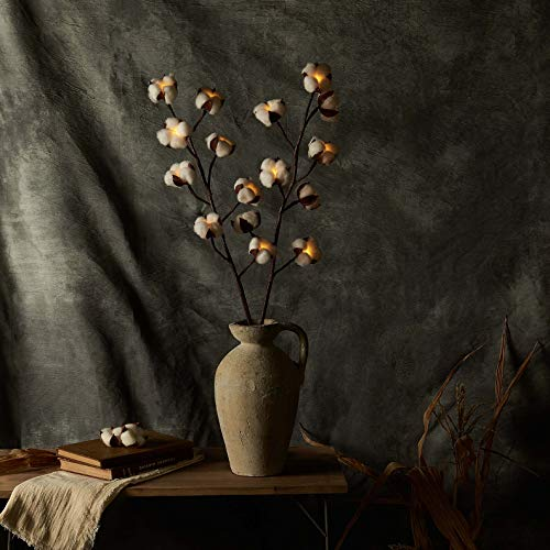 LITBLOOM Baumwoll-Zweige mit Timer, batteriebetrieben, beleuchtete Zweige mit Baumwollblume für rustikale Dekoration,...