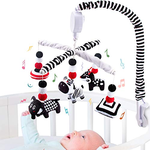 teytoy Black & White Mobile Baby Crib, Montessori Infant Mobile for Crib with Timing Function-High Contrast Musical Hanging Mobile Crib Toys, Baby Crib Toys For Newborn Boys & Girls
