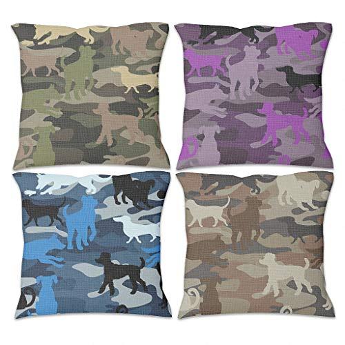 DOGCATPIG Funda de almohada ligera de 4 piezas de algodón suave con cremallera para sala de estar, estilo Sunshine blanco, 45 x 45 cm