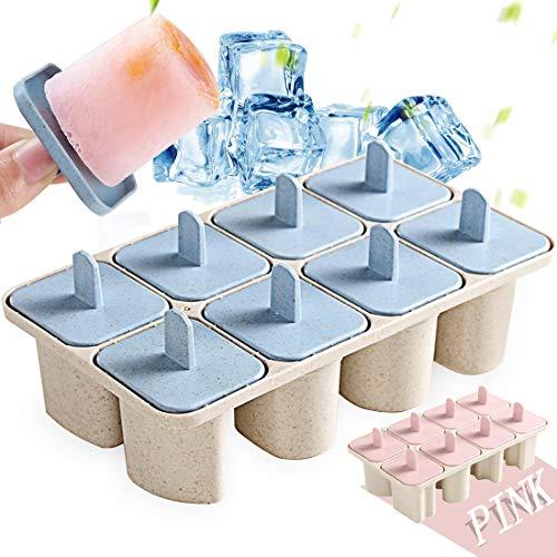 Zaloife Eisformen Fresh Foods Eisförmchen 8 Weizenstroh Buchstaben Popsicle Formen Set, DIY Ice Pop Lolly Popsicle, Wiederverwendbar Popsicle Sticks, Mini Eisform für Kinder, Baby (Blau)