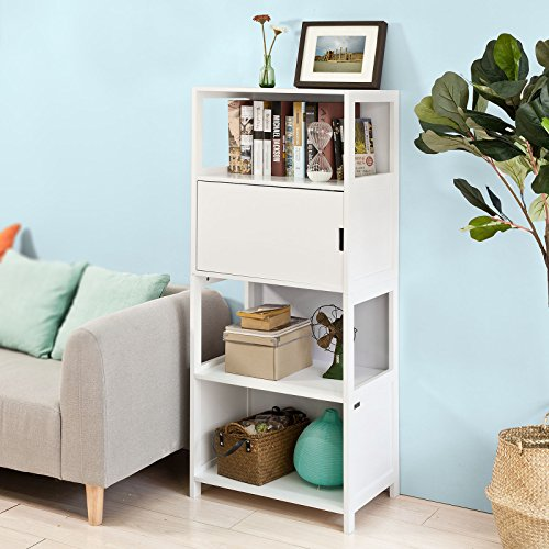 SoBuy® scala libreria, scaffale angolo , Mobiletto da soggiorno o bagno, bianco FRG190-W,IT
