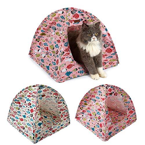 Ponacat cama de gato tienda de campaña choza de gatito portátil plegable lienzo de mascotas cama de cueva casa de gato lindo pez patrón de gatito cúpula nido interior para gato pequeño perro cachorro gatito en verano otoño