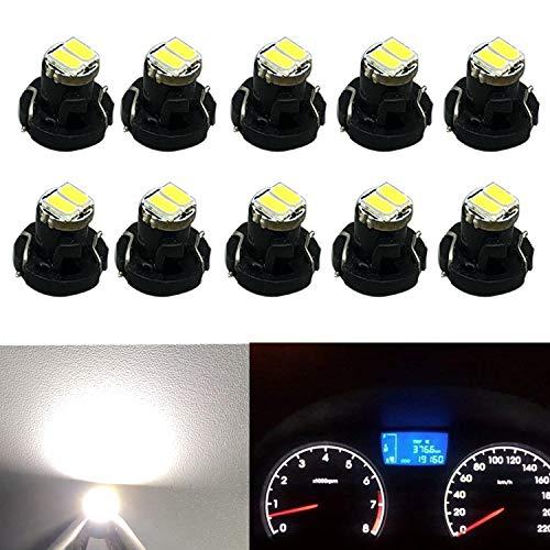 NAKOBO 12V汎用 T3 2SMD 3014チップ 自動車LED ライト ダッシュボード メーターパネルライト 電球 1年保証/ホワイト(10個入り)