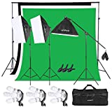 Andoer Lighting Kit, Photography Studio Softbox Light Kit and 6.6ftx10ft Background Support System, Including 3pcs Backdrops(Black/White/Green) Screen for Photo, Video, Portrait and Product Shooting