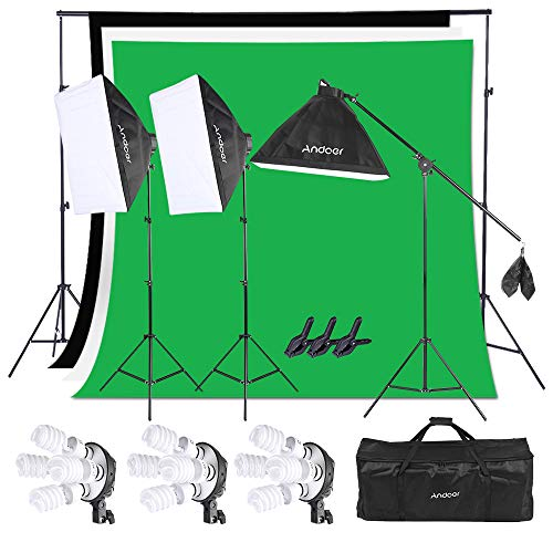 Andoer Photography Studio Softbox Lighting Kit with 6.5ftx10ft(2X3Meters) Background Support System Including 3pcs Backdrops(Black/White/Green) Screen for Photo, Video, Portrait and Product Shooting