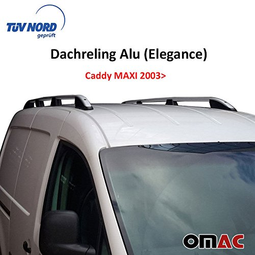 Barras de techo de aluminio gris (Elegance) para Volkswagen Caddy MAXI a partir de 2003 con TÜV/ABE