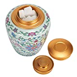 MonWay Food Storage Container Cookie Jar - Ceramic Coffee Canister Kitchen Candy Container of Enamel Painted Porcelain Luxury Oriental Royal Court Style Airtight Well Sealed Tank for Gift Home Travel. Coffee Beans, Sugar, Tea, Cereal, Salt, Flour and More - 25 FL OZ (750 ML)