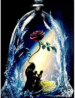 5D Painting, Diamond Painting Full Drill Rhinestone Pictures of Crystals Embroidery Kits Arts, Crafts & Sewing Cross Stitch(Beauty and Beast) 12X16Inch
