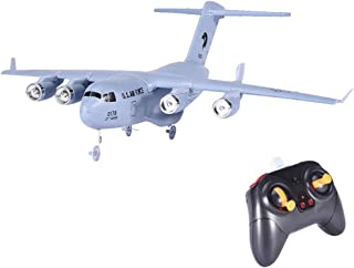 LONGZUYS Remote Control Airplane Glider - C-17 2.4GHz 2CH 3-Axis RC Plane Transport Aircraft EPP with Gyro RTF Toy Perfect for Kids, Adults, Beginner (White)