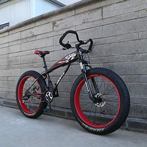 W&HH SHOP Fat Tire Mountain Bike for Adult 27 Speed 24inch/26 inch Wheels Double Disc Brake Suspension Fork Suspension Anti-Slip Bikes,26inch