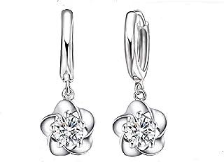 حلقان بنمط زهور كريستالية رائعة من الفضة الاسترليني عيار 925