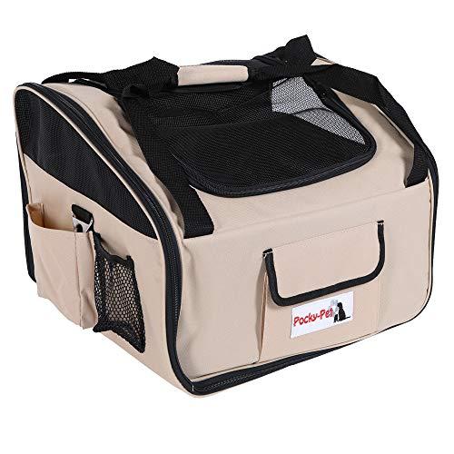 Pocky- Pet Hundetransporttasche Autotransporttasche beige Hundetasche Hundetransportbox 41x34x30cm Autositz Tasche Hund Haustier Box strapazierfähig