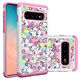 Galaxy S10 Case, Samsung Galaxy S10 Case, Rainbow Unicorn Pattern Heavy Duty Shockproof Studded Rhinestone Crystal Bling Hybrid Case Silicone Protective Armor for Samsung Galaxy S10 6.1 Inch 2019