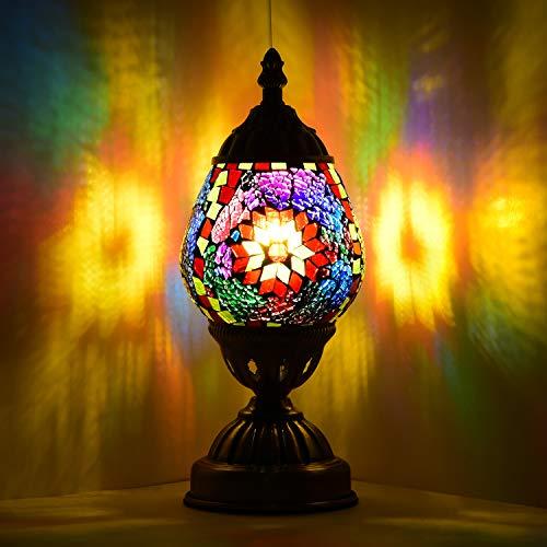 Lámpara de mesa, decoración Navidad, regalo mosaico, cristal con forma huevo, lámpara mesita noche, mesa marroquí, luz nocturna para salón, dormitorio, bombilla LED E12 (roja)