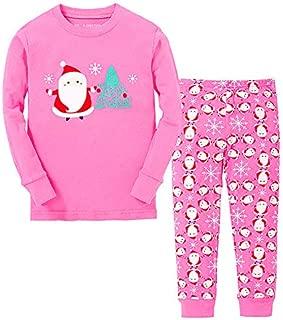 Image of Christmas Scene Pink Santa Claus Pajamas for Girls and Toddler Girls