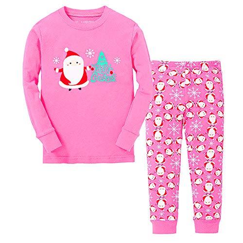 Tphon Girls Christmas Pajamas Toddler Boy Kids Holiday Pajamas Set Santa PJS Winter Sleepwear Children Clothes (6Y, Pink)