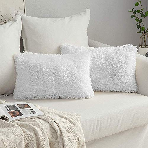 MIULEE Lot de 2 Housse de Coussin de Canapé Rectangulaire Fourrure de Luxe Decoration canapé Maison Chambre Lit Super Doux Peluche Taie d'oreiller Décorative 30X50cm 12X20 Pouces Blanc