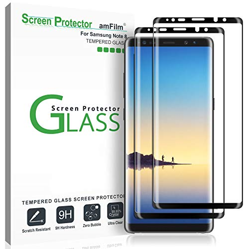 amFilm (2 Pack) Glass Screen Protector for Samsung Galaxy Note 8, Full Screen Coverage, 3D Curved Tempered Glass, Dot Matrix with Easy Installation Tray (Black)