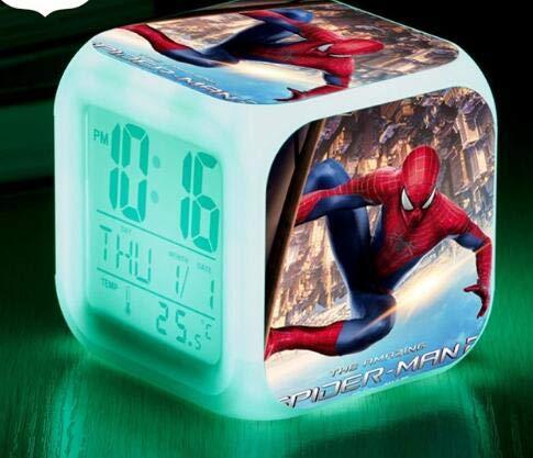 Spider Man 7 Colors Changing Digital Clock Spiderman LED Alarm Clock Lovely Cartoon Night Light Alarm Clock for Kids,Style 8,Birthday Gifts