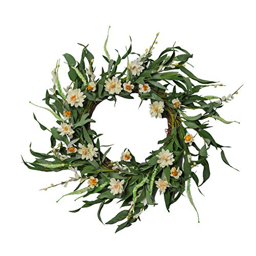 NeoL'artes 20inch Artificial White Flower Wreaths for Front Door Spring Summer Windows Fireplaces Walls Home Decor Year Around