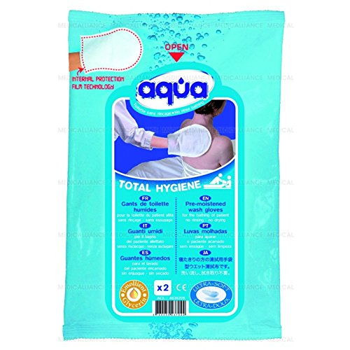 GANTS DE TOILETTE AQUA pour toilette corporelle 1 paquet de 12 Gants - 34/3650- Certifié France Medical Industrie