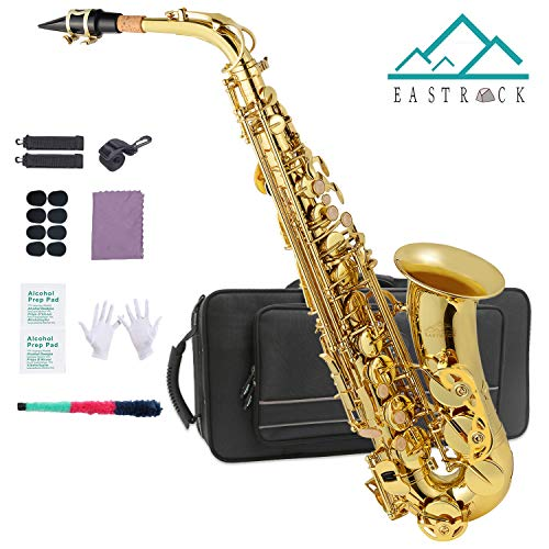 EASTROCK Alto Saxophone Gold Laquer Sax Instrument E Flat for Students and Beginners with Case,Mouthpiece,neck strap,Reeds,Mouthpiece Cushion Pads,Cleaning Cloth&Cleaning Rod,White Gloves,Alcohol Pads