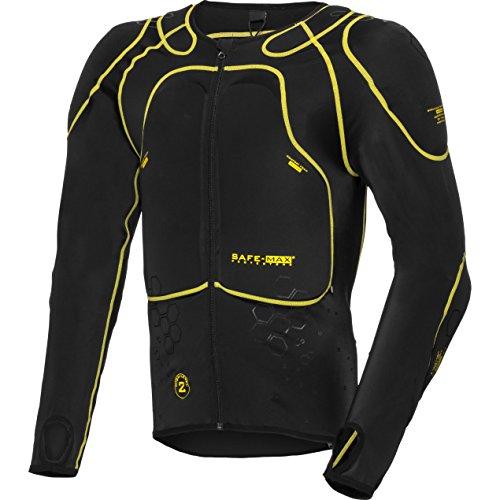 Safe Max® Protektorenjacke Motorrad Protektorenhemd Unterziehjacke mit Protektoren, Level 2, extrem funktional, Schulter-, Ellbogen- und Rückenprotektor, luftig, atmungsaktiv, Schwarz, M