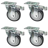 OK5STAR 4 pcs 4 Inch Swivel Plate Caster Wheels, Industrial, Premium Heavy Duty Casters, Top Plate Hooded Caste TPR Rubber Polyurethane Swivel Plate Casters with Locking Brake