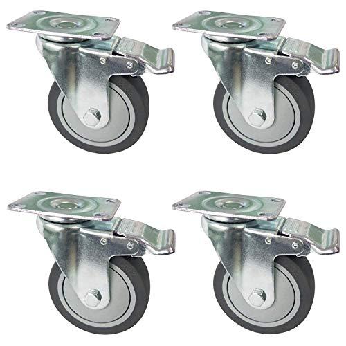 51UcLQNngJL. SL500  - OK5STAR 4 ruedas giratorias de 10,16 cm, industriales, con tapa y tapa de goma TPR con freno de bloqueo