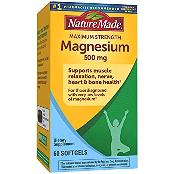 Nature Made Maximum Strength Magnesium Oxide 500 mg Softgels 60 Count for Nutritional Support