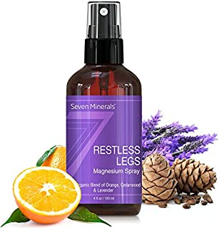 Natural Restless Leg Syndrome Treatment & Cramp Pain Relief - Powerful Magnesium Oil Blend with Organic Essential Oils (Orange, Lavender, and Cedarwood) - Made in USA - 100% Natural & Organic - Free G