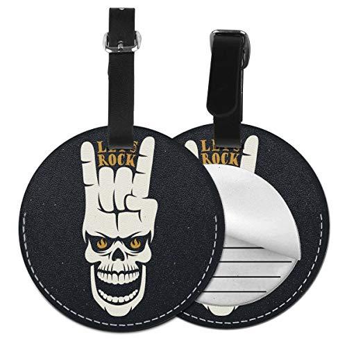 Rock Music - Juego de etiquetas de equipaje de piel personalizadas con calavera Negro Negro 2 PC
