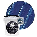 Wanders24® Metall-Optik (1 Liter, Dunkelblau) Wandfarbe Metallic - zum Spachteln im Metallic Look - in 17 edlen Farbtönen erhältlich - Made in Germany