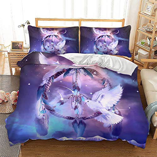 Dream Bedding Catcher Duvet Cover Set White Feather Pigeon Galaxy Theme Comforter Cover Luxury Microfiber Quilt Cover for Kids Teens Adults, Twin Size