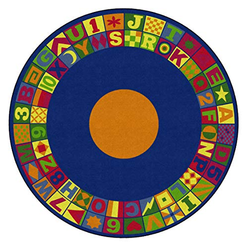 Flagship Carpets FE148-87A Floors That Teach Activity Rug, Ideal for Circle Time and Other Activities, Children's Classroom Educational Carpet, 8' Round, 96' Length, 0' Width, Multi-Color