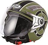 bhr 93292 casco doppia visiera modello double 709, star verde opaco, l