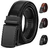 NUBILY Cinturón Cuero Hombre, Cinturones Piel con Hebilla Automática, Sencillo y Clásico Perfecto Regalo Negro 125cm
