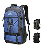 SEMSTY Hiking Backpack Expandable, 40L/45L Water Resistance Camping Daypack Rucksack for Backpacking, For Travel Mountain Climbing Men&Women (Blue)