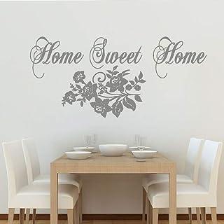 Hogar dulce hogar calcomanía de pared patrón de flores vivero decoración de pared viniloetiqueta de la pared para la habitación de los niños arte de la pared del dormitorio gris 72 cm x 43 cm