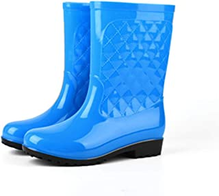 rain Boots Women's Fashion rain Boots Water Shoes Women's Crystal Thick Bottom wear-Resistant Rubber Shoes Work Shoes(-