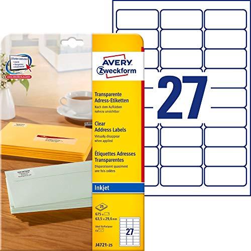 AVERY Zweckform J4721-25 Adressetiketten/Adressaufkleber (675 Etiketten, 63,5x29,6mm auf A4, bedruckbar, selbstklebend, für DIN C6 Briefkuverts, Polyesterfolie, Inkjet-Drucker) 25 Blatt, transparent