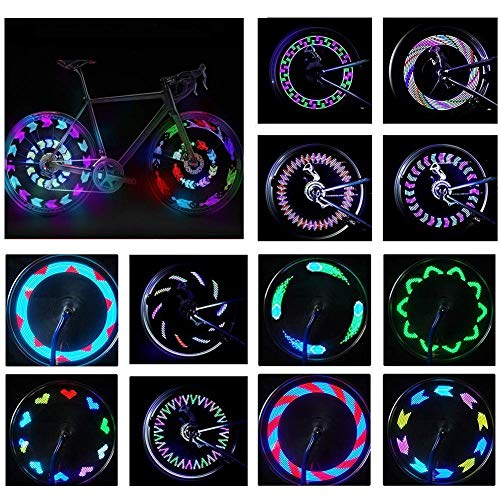 BYPA Bike Wheel Lights, Bicycle Wheel Light LED Waterproof Spoke Lights Bicycle Color Led Lights for Kids Adults-14Led 30Patterns -Ultra Bright, Visible from All Angles,Automatic & Manual Dual Switch